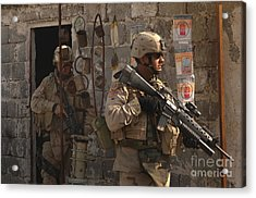 Army Soldiers Keeping An Eye Acrylic Print by Stocktrek Images