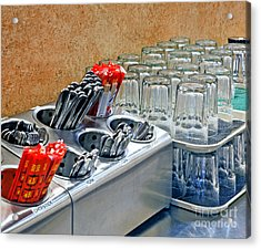 Arranged Glasses And Silverware Acrylic Print by David Buffington