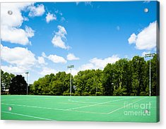 Artificial Turf Athletic Field Acrylic Print by Sam Bloomberg-rissman