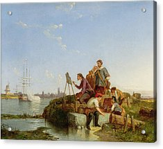 Artist At His Easel And Shipping Beyond Acrylic Print