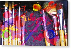 Artist Brushes - Paint Mess  Acrylic Print by Steve Ohlsen