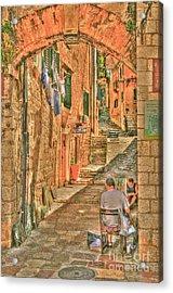 Artist Working In Montenegro Acrylic Print by Alberta Brown Buller