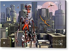 Artists Concept Of A City Of The Future Acrylic Print by Mark Stevenson
