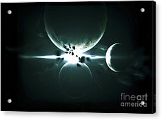 Artists Concept Of A Planet And Its 3 Acrylic Print by Kevin Lafin