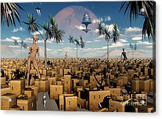 Artists Concept Of Aliens Visiting Acrylic Print by Mark Stevenson