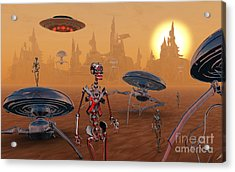 Artists Concept Of Life On Mars Long Acrylic Print by Mark Stevenson