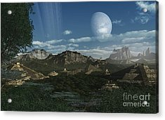 Artists Concept Of Mayan Like Ruins Acrylic Print by Frieso Hoevelkamp