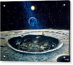 Artwork Of A City In A Crater On The Moon Acrylic Print by Chris Butler