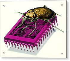 Artwork Of Millennium Bug With Beetle On Microchip Acrylic Print by Victor Habbick Visions