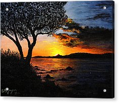 Acrylic Print featuring the painting Aruba Sunset by Stuart B Yaeger