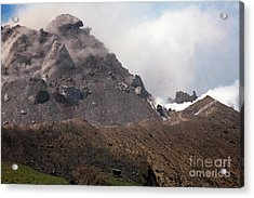 Ash And Gas Rising From Lava Dome Acrylic Print by Richard Roscoe