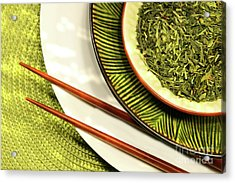 Asian Bowls Filled With Herbs Acrylic Print by Sandra Cunningham