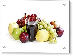Assorted Fruits On White Acrylic Print by Elena Elisseeva