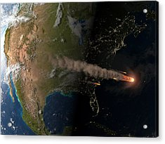 Asteroid Approaching Earth Acrylic Print by Joe Tucciarone Library