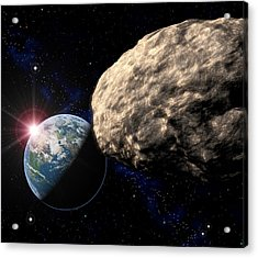Asteroid Approaching Earth Acrylic Print by Roger Harris