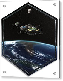 Asteroid Golf Acrylic Print by Snake Jagger