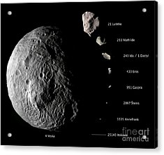 Asteroid Size Comparison With Vesta Acrylic Print