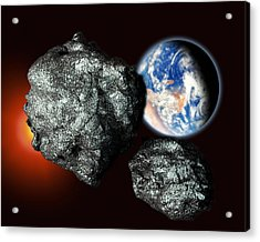 Asteroids Approaching Earth Acrylic Print by Victor Habbick Visions