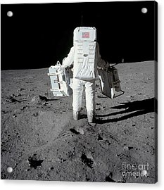 Astronaut Carrying Equipment Acrylic Print by Stocktrek Images