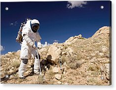 Astronaut Stands Beside A Core Sampling Acrylic Print by Stocktrek Images