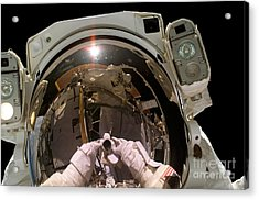 Astronaut Takes A Self-portrat Acrylic Print by Stocktrek Images