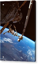 Astronauts Working On A Satellite In Space Acrylic Print by Stockbyte