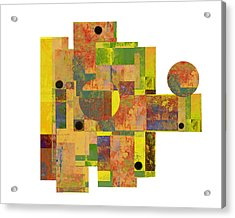 Asymmetry 1 Abstract Art Collage Acrylic Print by Ann Powell