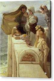 At Aphrodite's Cradle Acrylic Print by Sir Lawrence Alma-Tadema