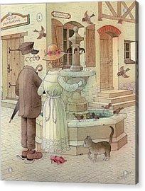At The Fountain Acrylic Print by Kestutis Kasparavicius