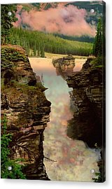 Athabasca Falls Evening Acrylic Print by Shirley Sirois