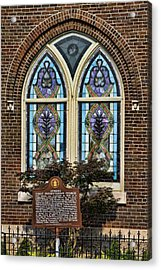 Athens Alabama First Presbyterian Church Stained Glass Window Acrylic Print by Kathy Clark