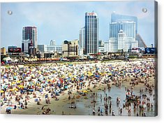 Atlantic City Beach Acrylic Print by John Loreaux