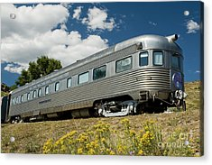 Atsf Train And Flowers Acrylic Print by Tim Mulina