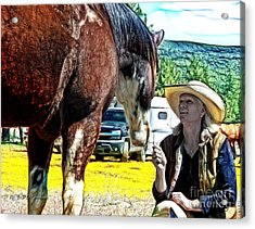 Audrey And The Paint Acrylic Print by Rhonda Strickland