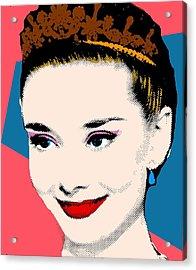 Audrey Hepburn Pop Art Coral Blue Acrylic Print by Bao Studio