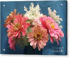 August Zinnias Acrylic Print