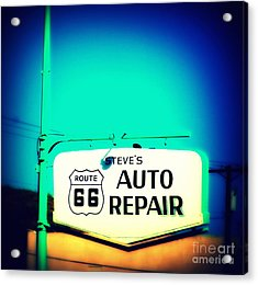 Auto Repair Sign On Route 66 Acrylic Print by Susanne Van Hulst