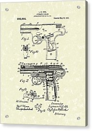 Automatic Firearm 1911 Patent Art Acrylic Print by Prior Art Design