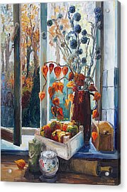 Autumn At The Kitchen Window Acrylic Print by Barbara Pommerenke