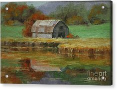 Autumn Barn Acrylic Print by Linda Eades Blackburn