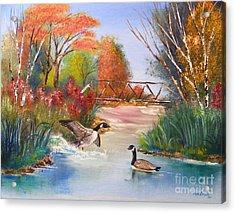 Autumn Geese Acrylic Print by Crispin  Delgado
