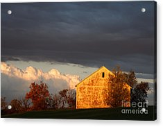Acrylic Print featuring the photograph Autumn Glow With Storm Clouds by Karen Lee Ensley