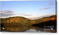 Autumn Lake Panoramic Acrylic Print by Thomas R Fletcher