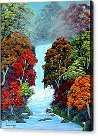 Acrylic Print featuring the painting Autumn Leaves by Fram Cama