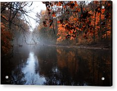 Autumn Morning By Wissahickon Creek Acrylic Print by Bill Cannon
