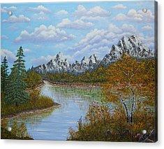 Autumn Mountains Lake Landscape Acrylic Print by Georgeta  Blanaru