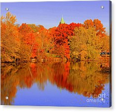 Autumn  On Mystic Lake Acrylic Print