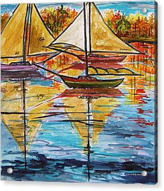 Autumn Sailboats Acrylic Print by John Williams