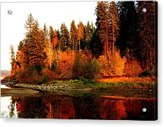 Autumn Sunset At Lake Coeur D'alene Acrylic Print by Cindy Wright