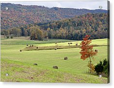 Autumn Valley Hay Bales Acrylic Print